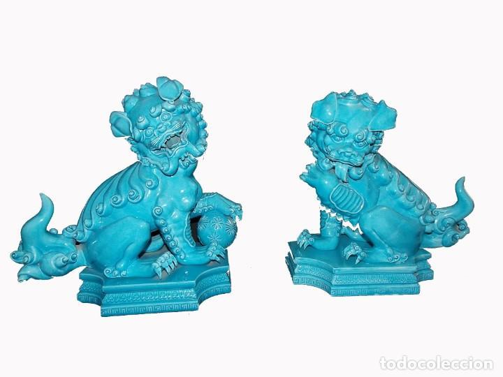 FIGURA ESCULTURA DE PORCELANA ALGORA DRAGONES QUIMERA GRAN TAMAÑO (Antigüedades - Porcelanas y Cerámicas - Algora)