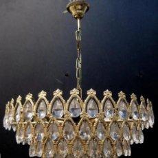 Antigüedades: LAMPARA LAGRIMAS DE CRISTAL EN CASCADA. Lote 132874238
