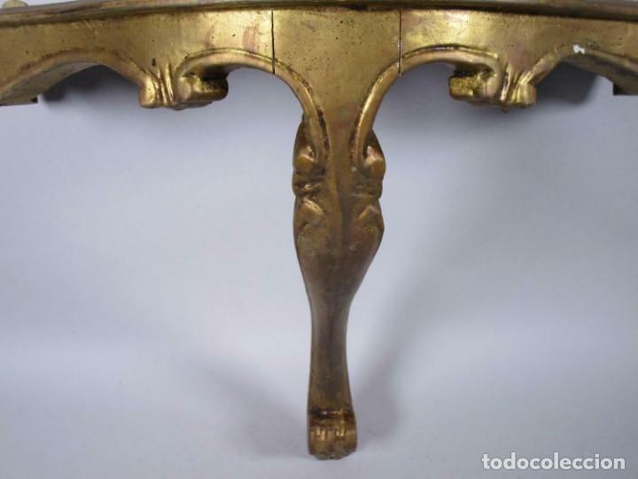 PERFECTA MAGNIFICA Y PEQUEÑA CONSOLA PAN DE ORO SIGLO XVIII MADERA , APROX. 54 X 25 CM 290,00 € (Antigüedades - Muebles Antiguos - Consolas Antiguas)