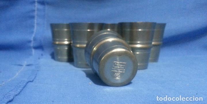 Antigüedades: 6 VASOS DE ZINC....6 UNIDADES.....4.5 CM DE ALTO. - Foto 5 - 215590902