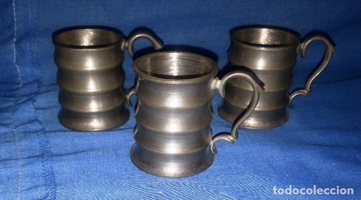3 JARRAS DE ZINC....3 UNIDADES.....5 CM DE ALTO. (Antigüedades - Hogar y Decoración - Copas Antiguas)