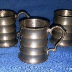 Antigüedades: 3 JARRAS DE ZINC....3 UNIDADES.....5 CM DE ALTO.. Lote 215591418