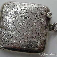 Antigüedades: ANTIGUA CAJA DE PLATA INGLESA PARA CERILLAS DE 1915. Lote 215635275