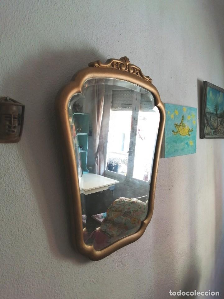 Antigüedades: Antiguo espejo tipo conuscopia, de madera, biselado - Foto 3 - 45185279