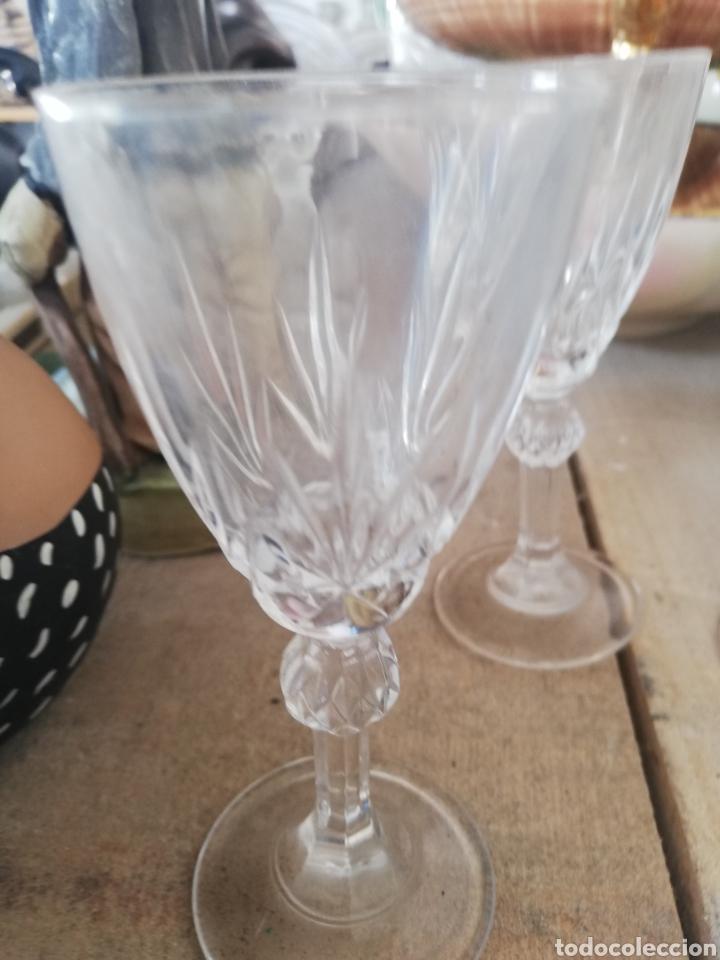Antigüedades: Cuatro copas de cristal.. Posible de la granja - Foto 2 - 215672156