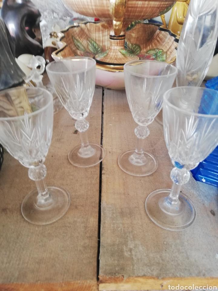 CUATRO COPAS DE CRISTAL.. POSIBLE DE LA GRANJA (Antigüedades - Cristal y Vidrio - La Granja)