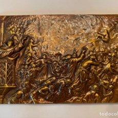 """Antigüedades: ANTIGUA PLACA DE BRONCE """"LA PREDICACIÓN DE SAN VICENTE FERRER"""" - ORIGINAL - METAL. Lote 215684305"""