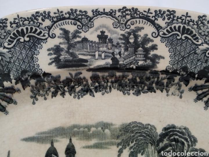 Antigüedades: Preciosa fuente PICKMAN, Cartuja de Sevilla, de 35 centímetros, vista en tinta negra, sello de 1841. - Foto 6 - 215748997