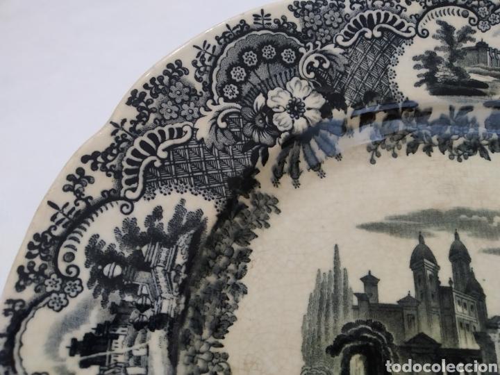 Antigüedades: Preciosa fuente PICKMAN, Cartuja de Sevilla, de 35 centímetros, vista en tinta negra, sello de 1841. - Foto 7 - 215748997