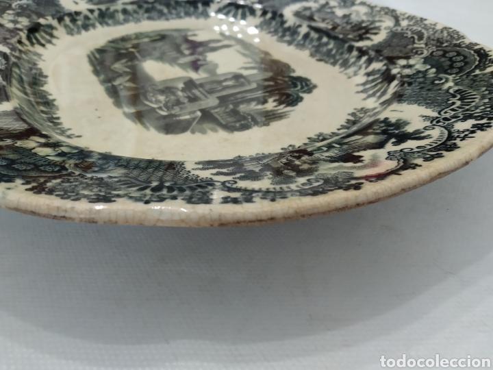 Antigüedades: Preciosa fuente PICKMAN, Cartuja de Sevilla, de 35 centímetros, vista en tinta negra, sello de 1841. - Foto 26 - 215748997