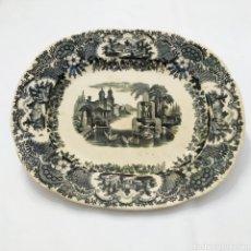 Antigüedades: PRECIOSA FUENTE PICKMAN, CARTUJA DE SEVILLA, DE 35 CENTÍMETROS, VISTA EN TINTA NEGRA DE 1841.. Lote 215748997