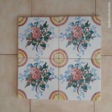 Antigüedades: AZ-20M4 4 AZULEJOS MODERNISTAS ROSA FLORES ART NOUVEAU. Lote 215755175