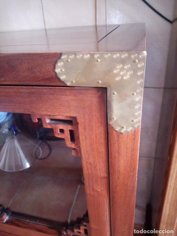 Antigüedades: Precioso mueble bar botellero de madera de caoba macizo estilo hindú.con decoraciones de latón. - Foto 15 - 215777877