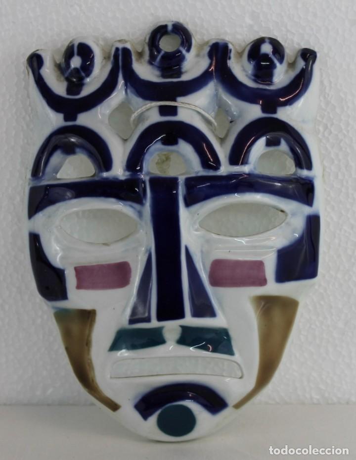 MÁSCARA EN PORCELANA ESMALTADA DE SARGADELOS (Antigüedades - Porcelanas y Cerámicas - Sargadelos)