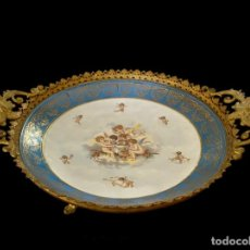 Antigüedades: PORCELANA Y BRONCE VIEJO PARIS, , ANGELES, 43 X 32 X 10, ESPECTACULAR. Lote 215896673