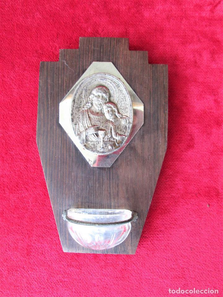 BENDITERA MADERA, CRISTAL Y LATÓN. FIRMADA RULIO, PERFECTA DE COLECCIÓN (Antigüedades - Religiosas - Benditeras)