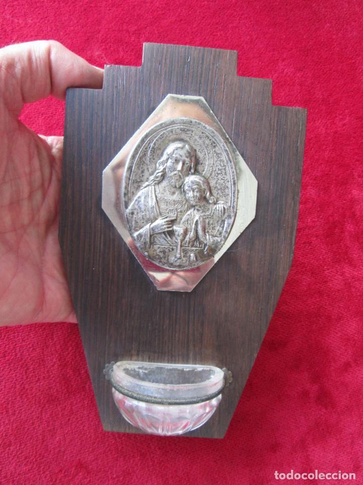 Antigüedades: BENDITERA MADERA, CRISTAL Y LATÓN. FIRMADA RULIO, PERFECTA DE COLECCIÓN - Foto 2 - 216012147