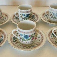 Antigüedades: 6 TAZAS DE CAFE CON SU PLATO DE PORCELANA CHINA ESMALTADA DIBUJOS FLORALES Y GEOMETRICOS CERAMICA. Lote 216018595