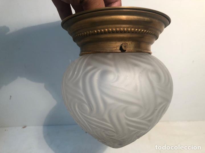 LAMPARA PLAFON DE TECHO DE CRISTAL ANTIGUA. (Antigüedades - Iluminación - Lámparas Antiguas)