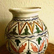 Antigüedades: JARRON CERAMICA DE TOLEDO - FIRMADO SANGUINO - MEDIDA DE ALTO 21 CM. Lote 216457776