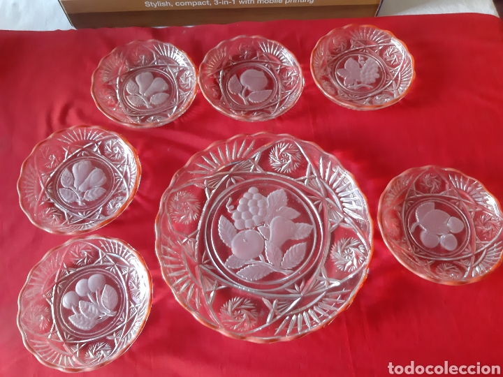 ANTIGUO 7 PLATOS.PLATOS DE CRISTAL PRENSADO PARA FRUTAS Y DULCES DE LOS AÑOS 50 (Antigüedades - Cristal y Vidrio - Otros)