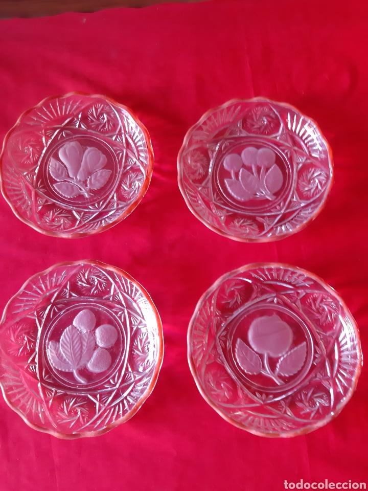 Antigüedades: Antiguo 7 platos.platos de cristal prensado para frutas y dulces de los años 50 - Foto 3 - 216488121