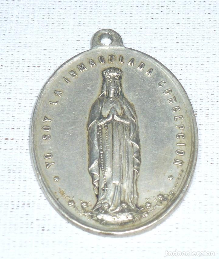 Antigüedades: Antigua Medalla Religiosa De La Inmaculada Concepcion. 1884. P. Navarro.4 x 3 Cm. - Foto 2 - 216517825