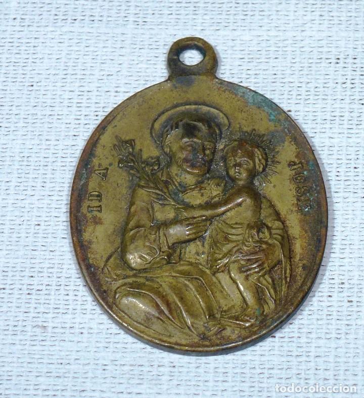 Antigüedades: Antigua Medalla De Bronce - San Jose - Id A José - Oración Al Reverso.4 x 3 Cm. - Foto 2 - 216518582