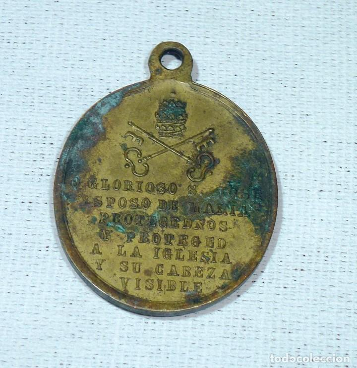 Antigüedades: Antigua Medalla De Bronce - San Jose - Id A José - Oración Al Reverso.4 x 3 Cm. - Foto 4 - 216518582