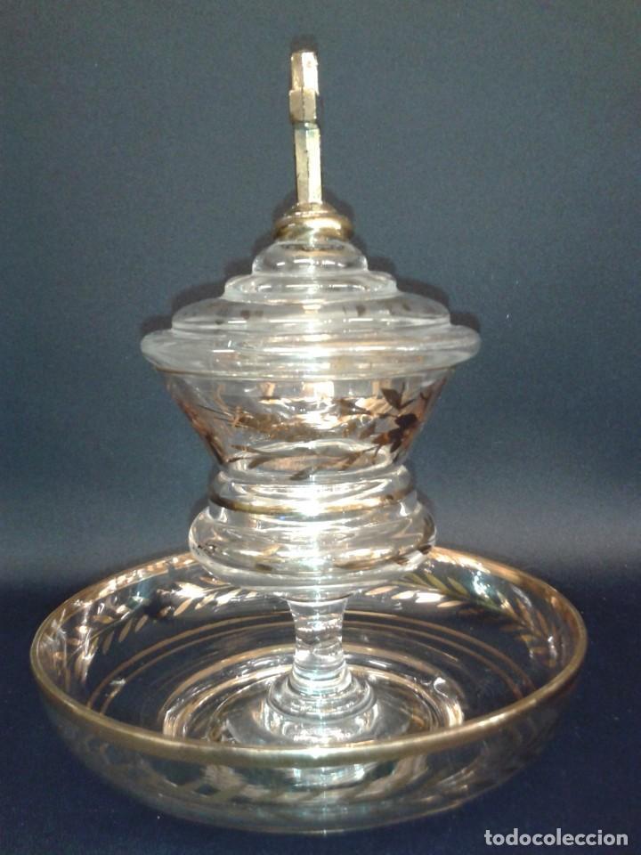 Antigüedades: Copón. Hostiario. Cristal. Posiblemente La Granja. Segovia. Principios del siglo XIX. - Foto 2 - 216545588