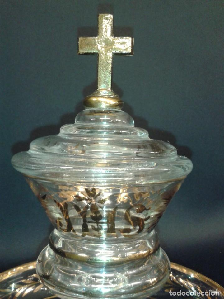 Antigüedades: Copón. Hostiario. Cristal. Posiblemente La Granja. Segovia. Principios del siglo XIX. - Foto 3 - 216545588