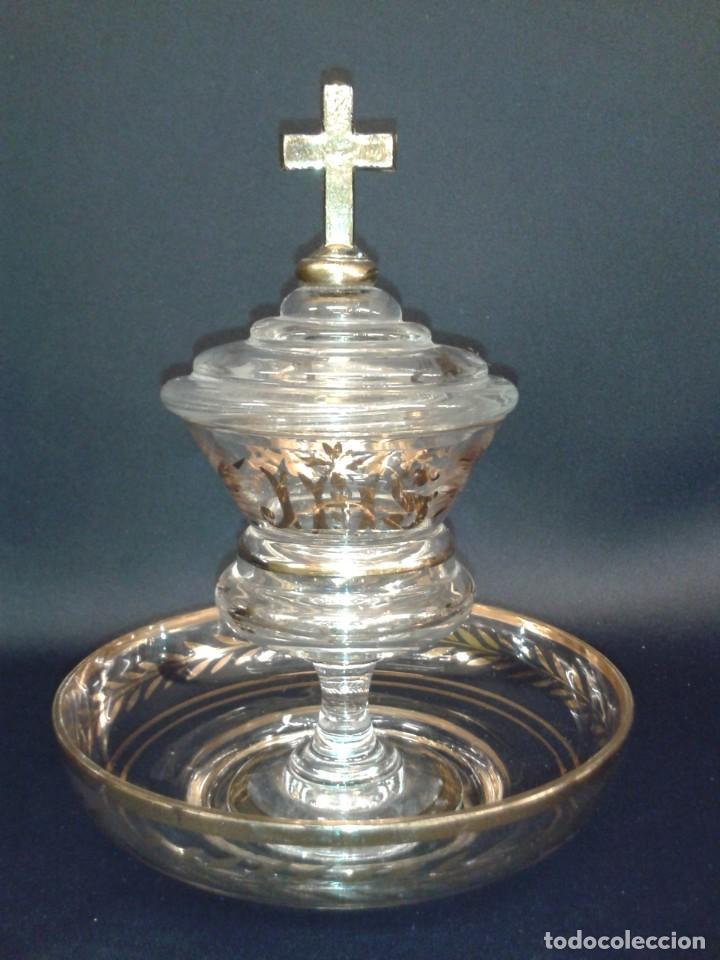 Antigüedades: Copón. Hostiario. Cristal. Posiblemente La Granja. Segovia. Principios del siglo XIX. - Foto 9 - 216545588