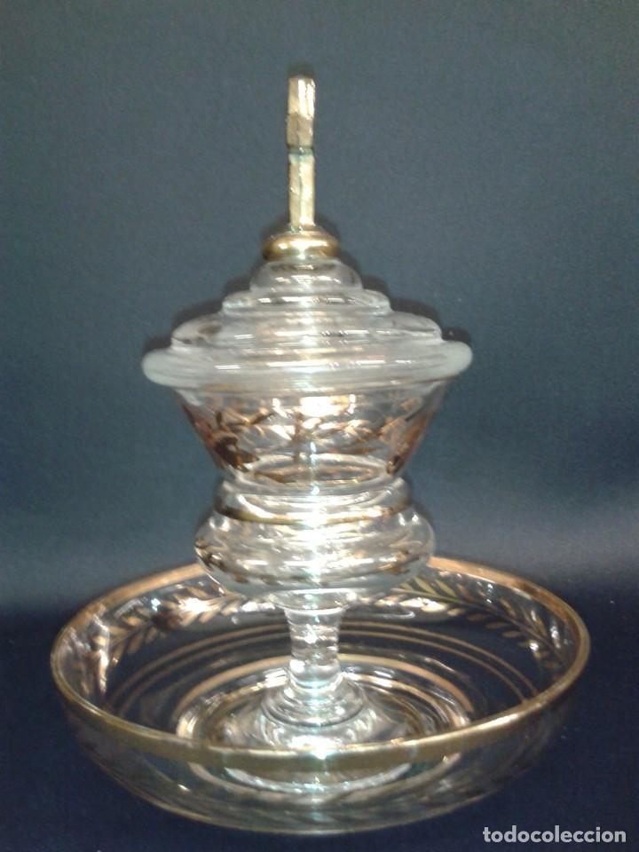 Antigüedades: Copón. Hostiario. Cristal. Posiblemente La Granja. Segovia. Principios del siglo XIX. - Foto 10 - 216545588