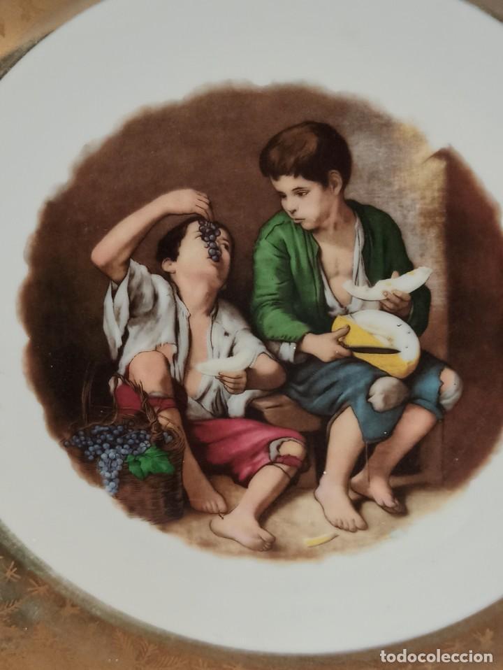 Antigüedades: Plato cerámica. Niños comiendo melón. Murillo. C19 - Foto 2 - 216562970