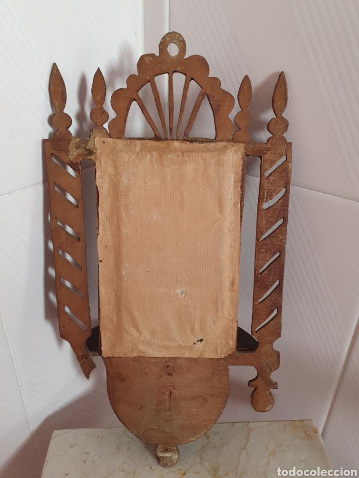 Antigüedades: ANTIGUA Y PRECIOSA REPISA DE MADERA CON SU ESPEJO DE EPOCA - Foto 7 - 216592803