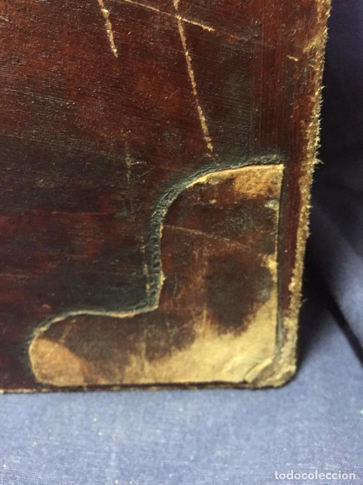 Antigüedades: BAÚL CHINO EXPORTACION EUROPA GOFRADO CUERO PIEL AVES ENTRE CEREZOS EN FLOR 4800GRS 26X67X45CMS - Foto 10 - 216601566