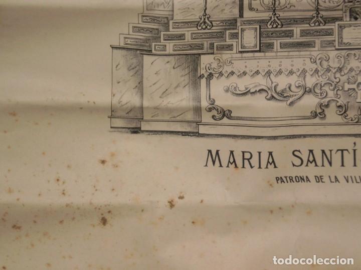 Antigüedades: POSTER MUY ANTIGUO EN PAPEL CON REPRESENTACIÓN DE MARÍA SANTÍSIMA DE RUS - Foto 2 - 216622520