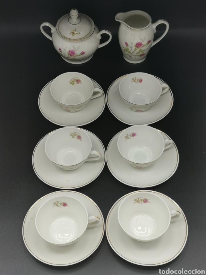 BONITO JUEGO DE CAFÉ O TÉ. PORCELANA SANTA CLARA, VIGO. (Antigüedades - Porcelanas y Cerámicas - Santa Clara)