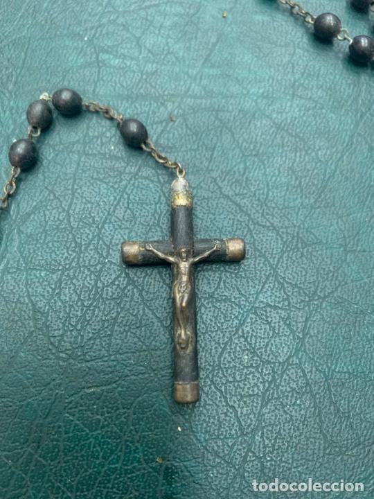 ROSARIO CON CUENTAS DE MADERA - MEDIDA 46 CM - RELIGIOSO (Antigüedades - Religiosas - Rosarios Antiguos)