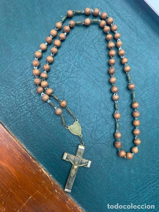 ROSARIO CON CUENTAS DE MADERA - MEDIDA 45 CM - RELIGIOSO (Antigüedades - Religiosas - Rosarios Antiguos)