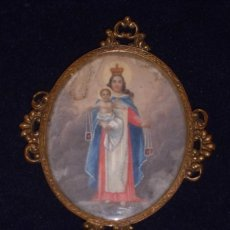 Antigüedades: MARFIL PINTADO AL OLEO, BELLISIMA MINIATURA VIRGEN DEL CARMEN. Lote 216712506