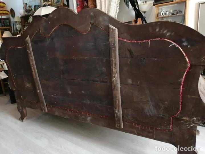 Antigüedades: BANCO, SOFÁ Fernandino. Siglo 19. CAOBA, SEDA, MARQUETERIA - Foto 5 - 216771726