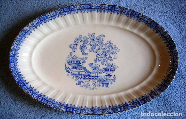 FUENTE PORCELANA SANTA CLARA, CHINA BLAU. TAMAÑO GRANDE, DE 34 CMS DE LARGO. COCINA (Antigüedades - Porcelanas y Cerámicas - Santa Clara)
