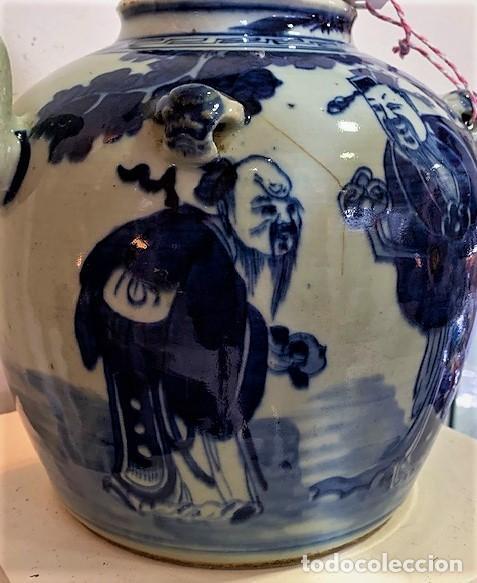 Antigüedades: Tetera china en porcelana esmaltada en azul. - Foto 3 - 216791767