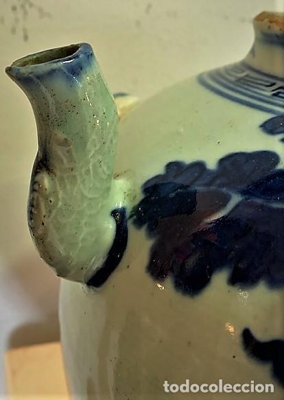 Antigüedades: Tetera china en porcelana esmaltada en azul. - Foto 4 - 216791767
