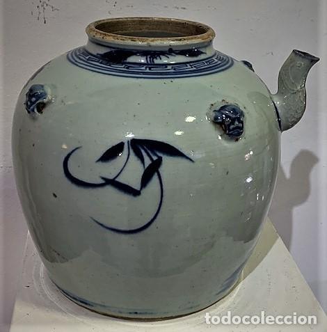 Antigüedades: Tetera china en porcelana esmaltada en azul. - Foto 7 - 216791767