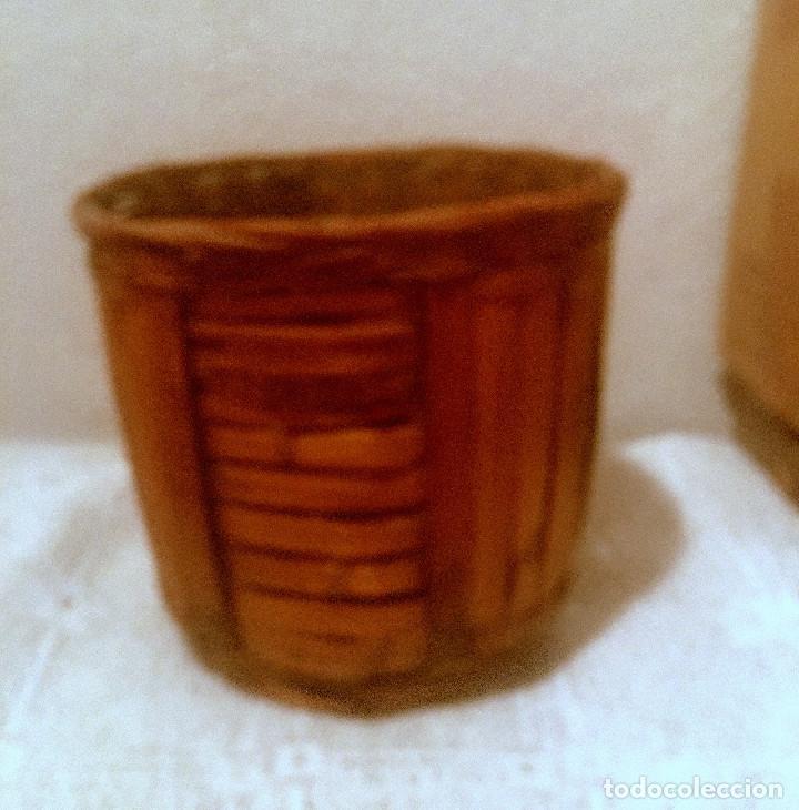 Antigüedades: ANTIGUA CESTA, PORTAMACETAS O MACETERO DE MIMBRE - Foto 3 - 216828606