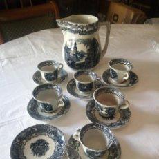 Antigüedades: ANTIGUO JUEGO DE CAFÉ Y JARRA DE LA CARTUJA PIKMAN SEVILLA. Lote 216835087