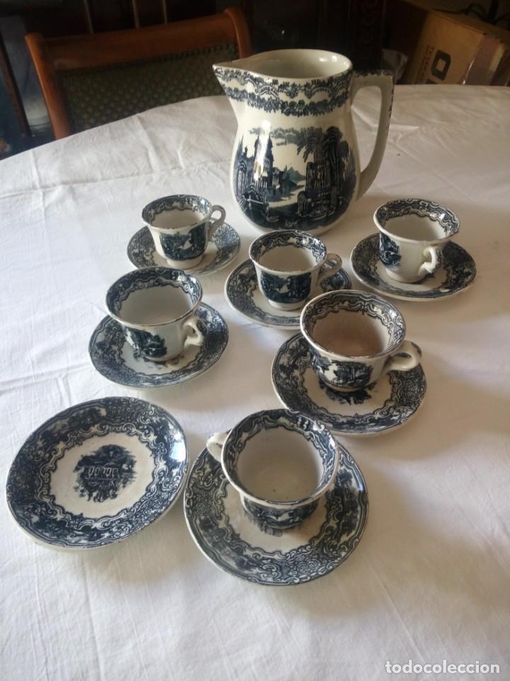 Antigüedades: ANTIGUO JUEGO DE CAFÉ Y JARRA DE LA CARTUJA PIKMAN SEVILLA - Foto 2 - 216835087