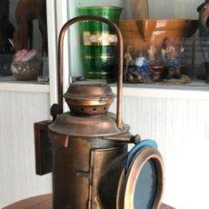 Antigüedades: FAROL- LAMPARA DE PETROLEO DE JEFE ESTACION DE FERROCARRIL DE COBRE- PPIO SIGLO XX. Lote 216845973